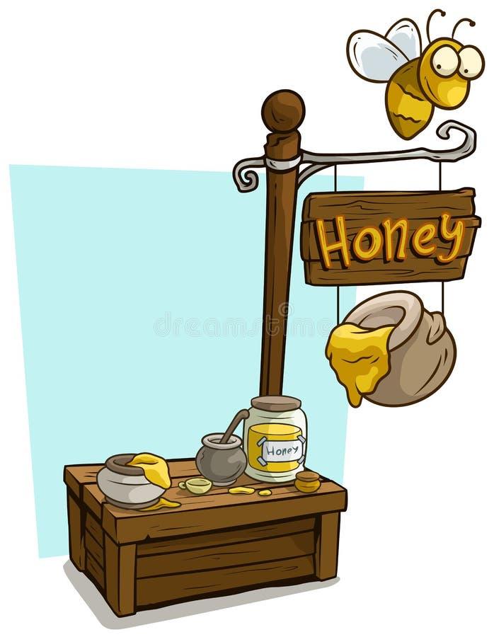 Support en bois du marché de cabine de vendeur de miel de bande dessinée illustration stock