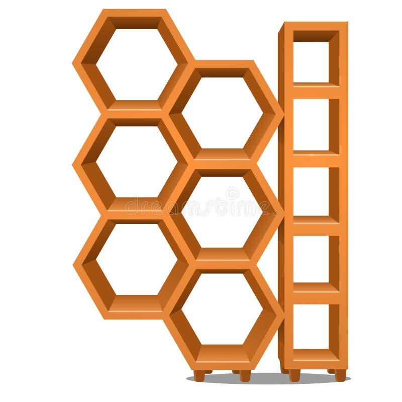 Support en bois sous forme de nid d'abeilles d'isolement sur le fond blanc Illustration de plan rapproché de bande dessinée de ve illustration libre de droits