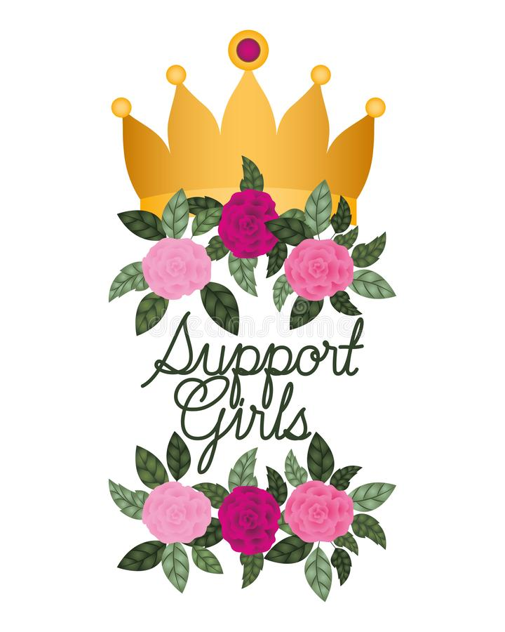 Support girl label with roses isolated icon royalty free illustration