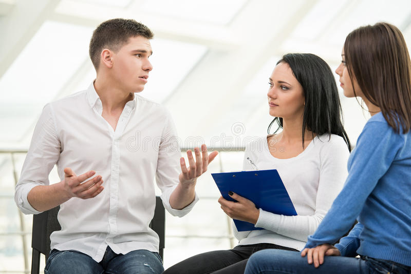 Support Group. Meeting of support group, group discussion or therapy stock image