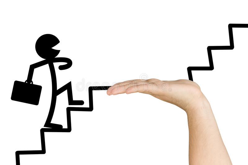 Support Hand Businessman Consulting. Carefree stylised businessman walking up stairs of success awareness consultant helps him in case of difficulty isolated on stock photo
