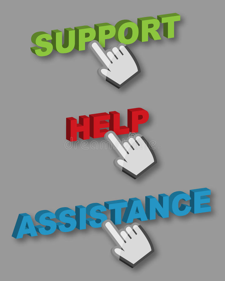 Support Help Assistance buttons. Support, Help and Assistance buttons with hand cursor on grey background stock illustration