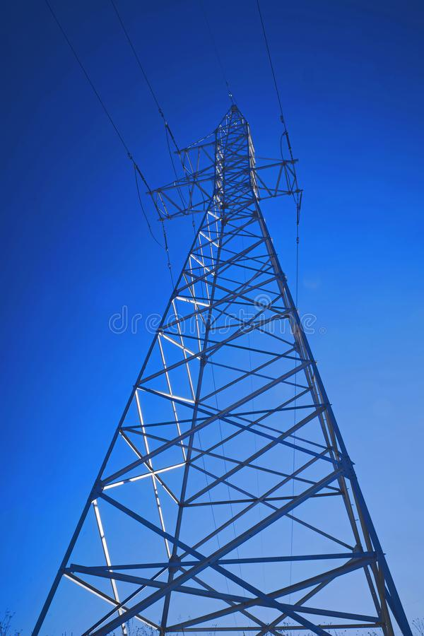Support of high-voltage power line royalty free stock photography
