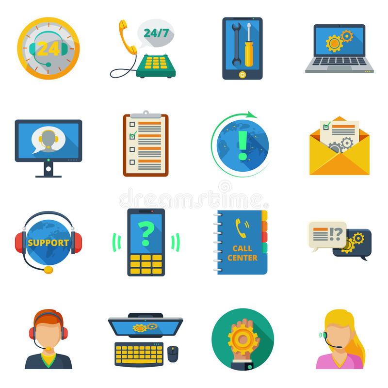 Support icons flat set. Support and customer service icons flat set isolated vector illustration royalty free illustration