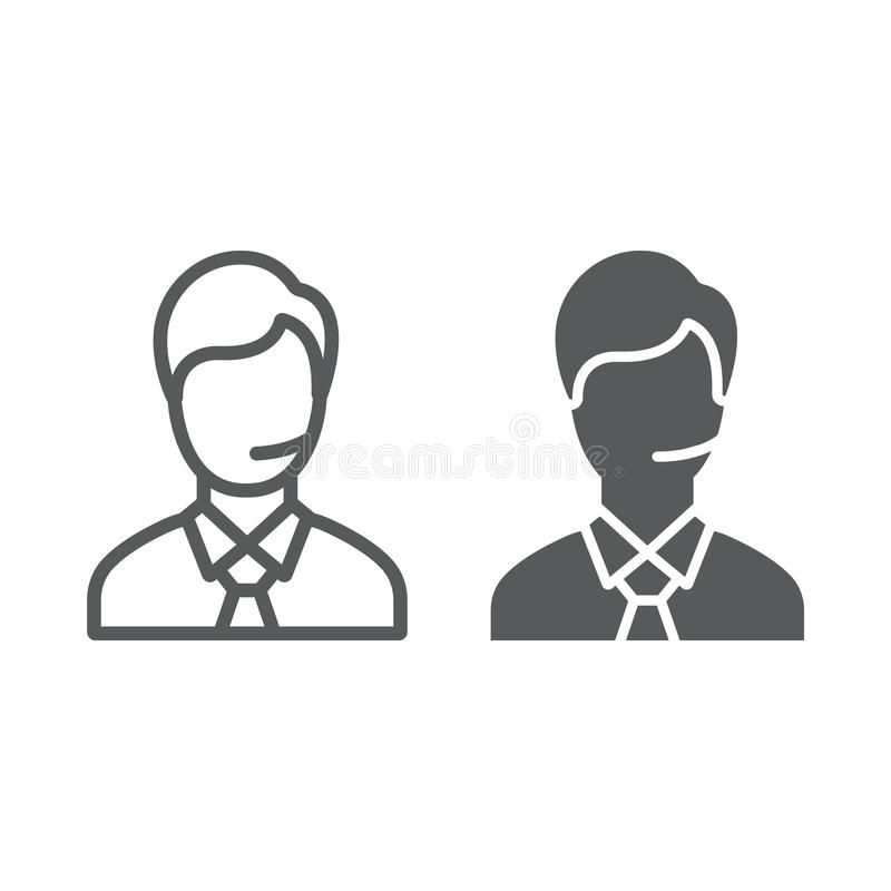 Support man line and glyph icon, call and communication, consultation sign, vector graphics, a linear pattern on a white vector illustration