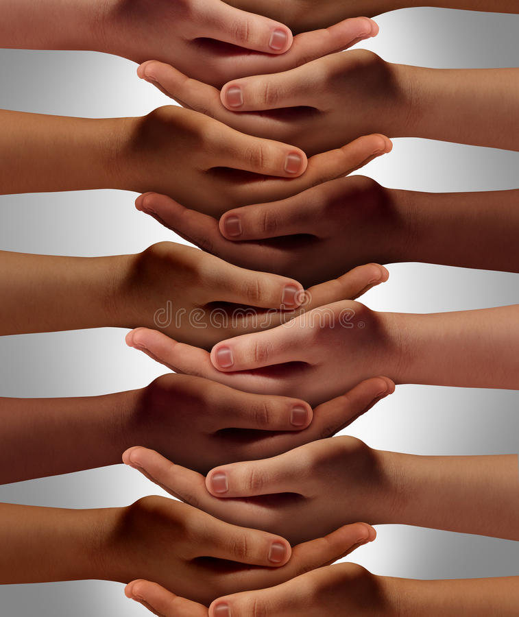 Support Network. Concept and people power from a multicultural society working together with respect to help one another achieve community success as a group of stock illustration