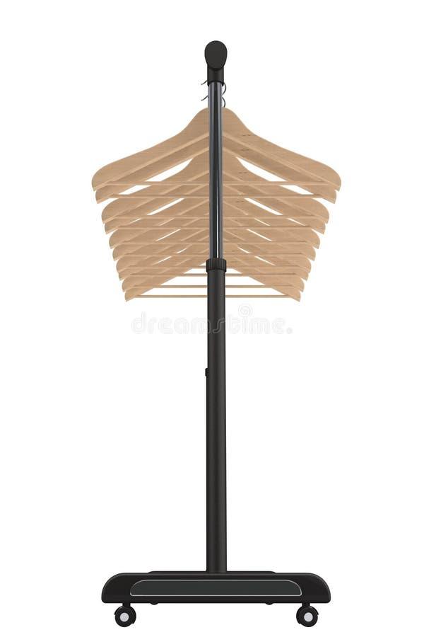 Support noir mobile de manteau avec des cintres photo stock