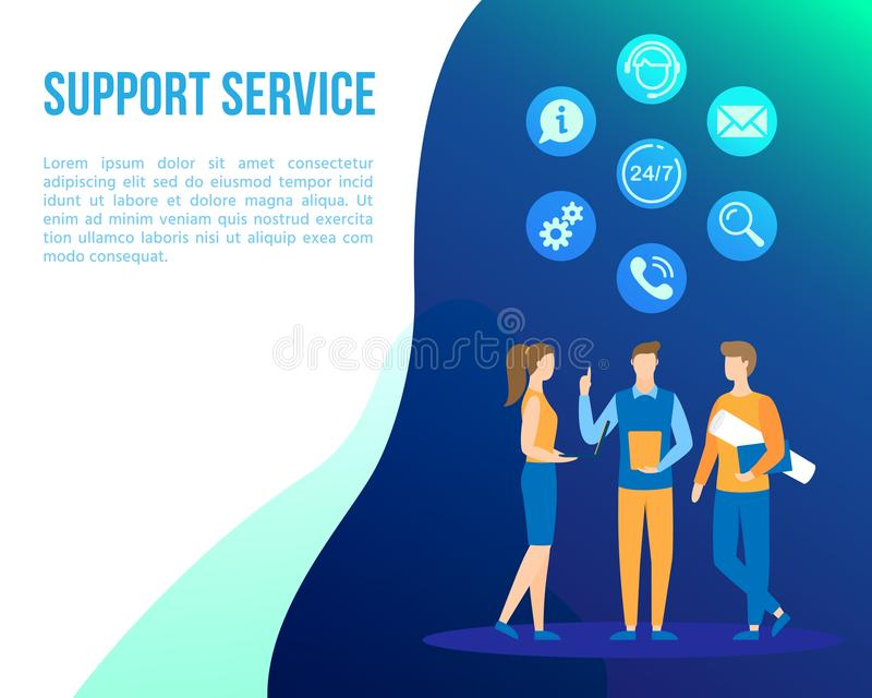 Support office web call center people flat vector royalty free illustration