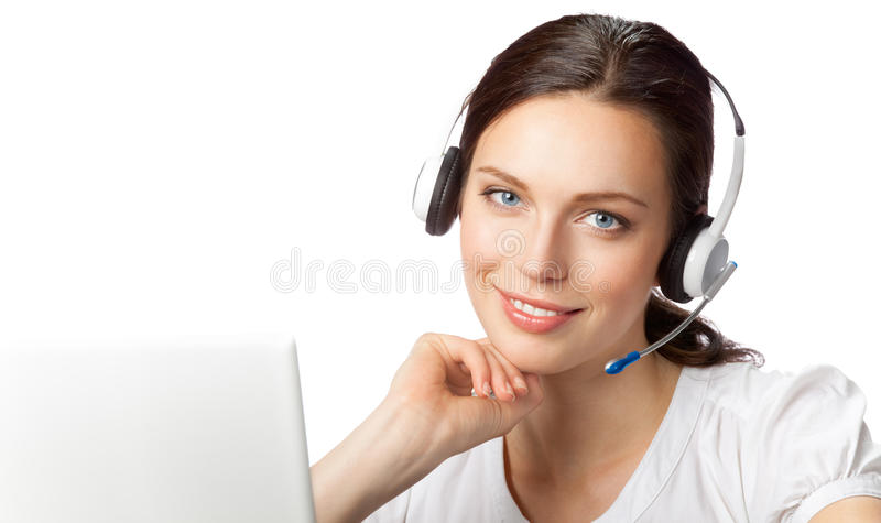Support phone operator stock image