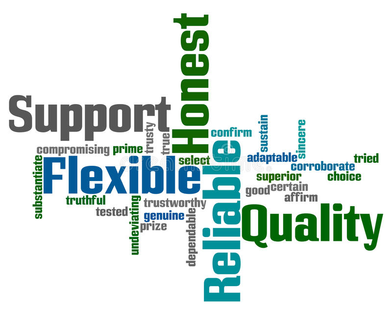 Support and Reliability Words stock illustration