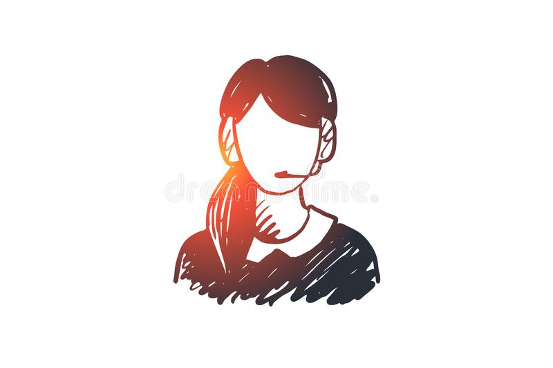 Support, service, headset, call, assistance concept. Hand drawn isolated vector. Support, service, headset, call, assistance concept. Hand drawn call service vector illustration