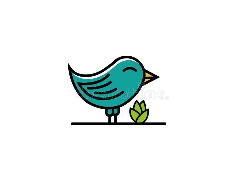Support souriant d'oiseau près d'une usine pour l'illustration de conception de logo illustration libre de droits