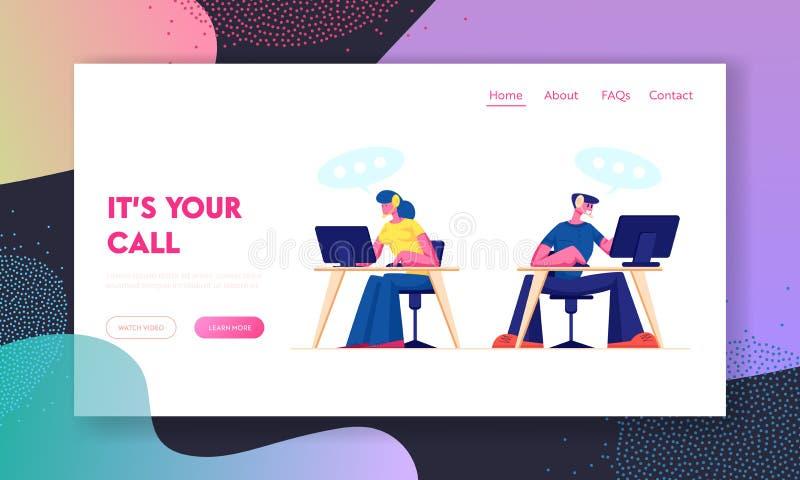 Support technique, page d'accueil du site Web du centre d'appel Personnel du service à la clientèle en casque travaillant sur les illustration libre de droits