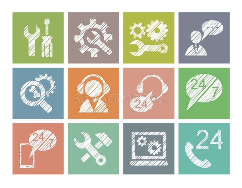 Support technique, réparation, aide, icônes, colorées, crayon hachant, vecteur illustration de vecteur