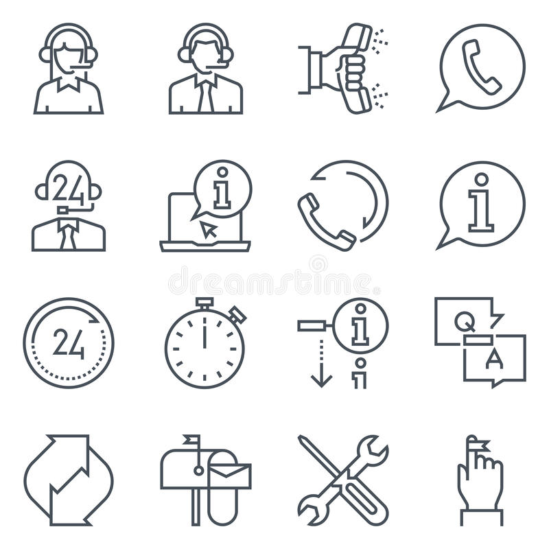 Support and tele market icon set royalty free illustration