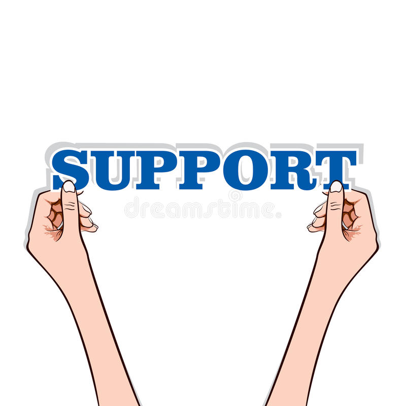 Download Support text with hand stock vector. Image of information - 27761197