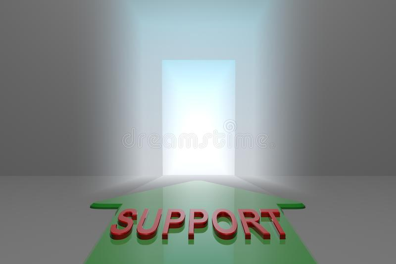 Support to the open gate. Green arrow with support word front of the open gate , 3d rendered royalty free illustration