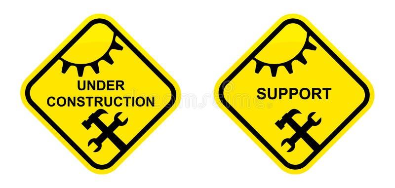 Support und im Bau Zeichen lizenzfreie abbildung