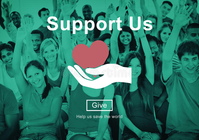Support us Welfare Volunteer Donations Concept royalty free stock photography