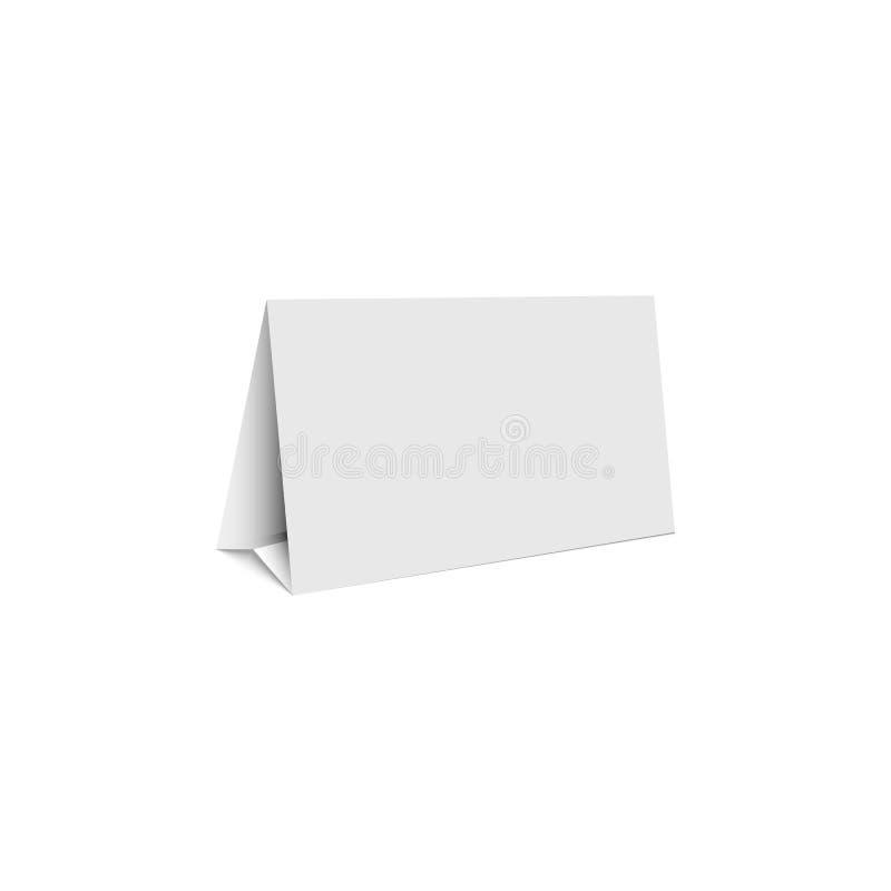 Support vide blanc de bannière de promotion de maquette, tente d'isolement de forme de calibre de support de table illustration libre de droits