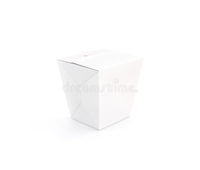 Support vide blanc fermé de maquette de boîte de wok d'isolement photographie stock