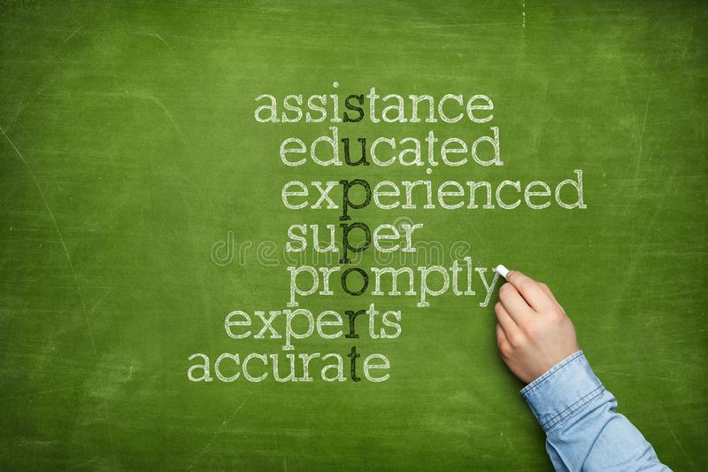 Support word cloud concept on blackboard stock photography