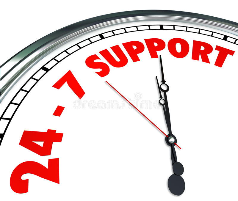 24 7 Support Words Numbers Clock Customer Service Always Open. 24-7 Support words on a clock face to promise round the cloce support and customer service to royalty free illustration
