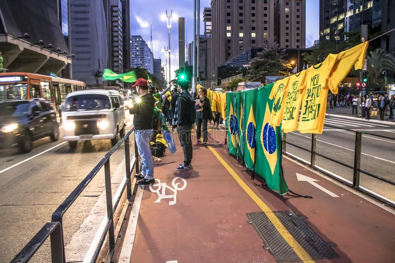 Supporters celebrate Bolsonaro victory in São Paulo - Supporters of President-elect Jair Bolsonaro celebrate the candidate`s vict. São Paulo, Brazil royalty free stock photography