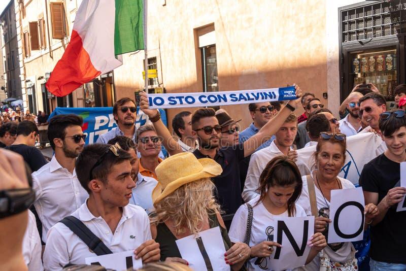 Supporters of Italian Deputy PM Matteo Salvini stock photo