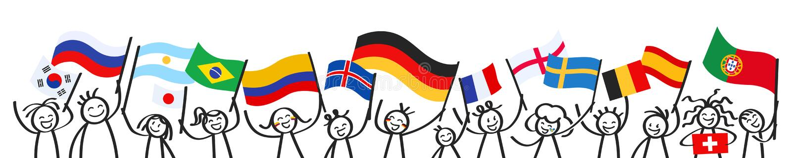 Supporters, sports fans, happy stick figures waving their respective national flags, horizontal banner. Isolated on white background royalty free illustration