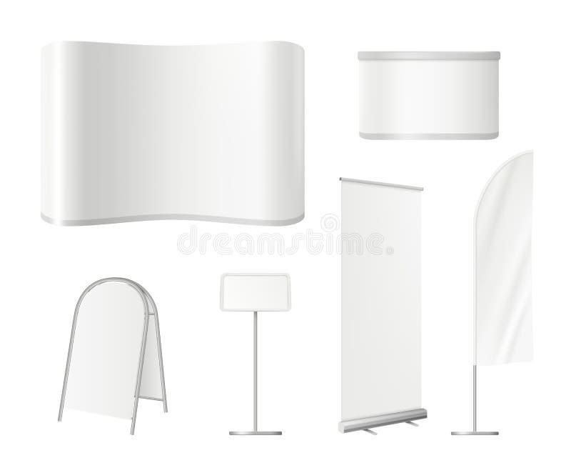 Supporti in bianco promozionali Annunciando lo spazio vuoto di mostra con il rotolo della parete sull'introduzione sul mercato di illustrazione di stock