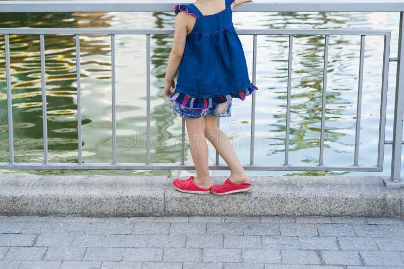 Supporti della bambina del primo piano da solo sulla banca del lago che vede lago Il concetto del rischio di caduta sull'acqua, r immagini stock