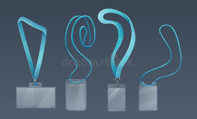 Supporti di distintivo di plastica per l'ID degli impiegati, sulle cinghie molli, pizzi royalty illustrazione gratis