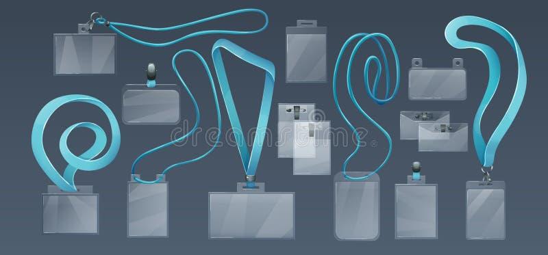 Supporti di distintivo di plastica per l'ID degli impiegati, sulle cinghie molli, pizzi illustrazione vettoriale