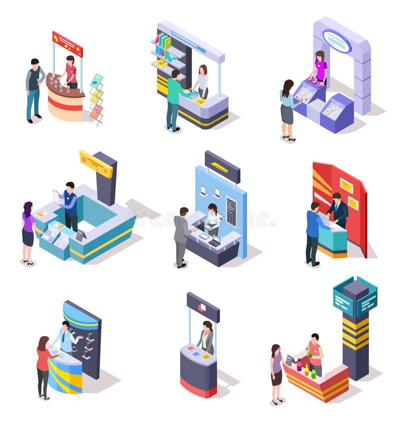 Supporti isometrici dell'Expo Stalle del supporto e di commercio di dimostrazione di mostra con la gente insieme di vettore 3d illustrazione vettoriale