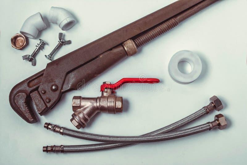 Tools for repair of plumbing stock image