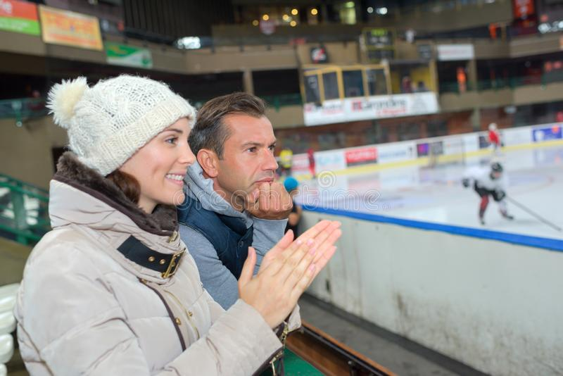 Supporting your ice hockey team. Support stock images