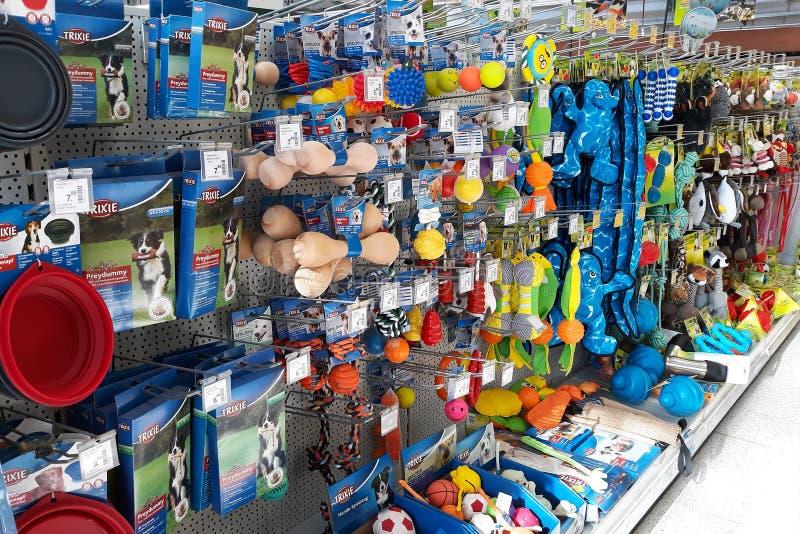 Supporto al minuto con differenti tipi di giocattoli del cane come il manichino, la palla o la peluche nel dipartimento del negoz fotografia stock