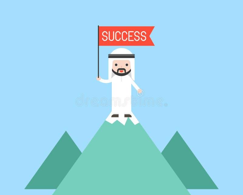 Supporto arabo sveglio della bandiera rossa della tenuta dell'uomo di affari sopra la montagna royalty illustrazione gratis