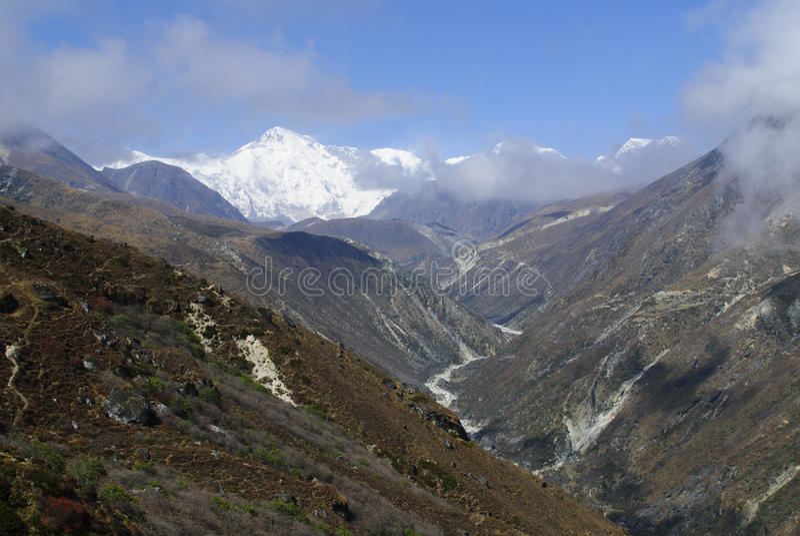 Supporto Cho Oyu Gokyo Valley Nepal immagine stock libera da diritti