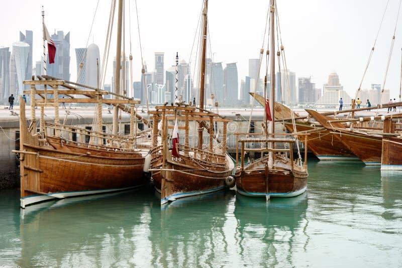 Supporto conico Doha Qatar dei Dhows fotografia stock