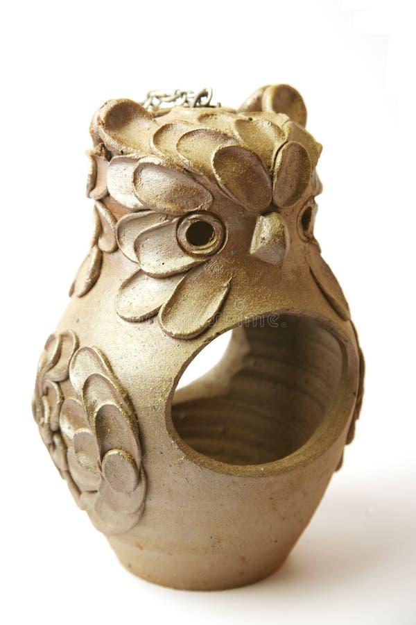 Supporto del flowerpot del gufo fotografia stock