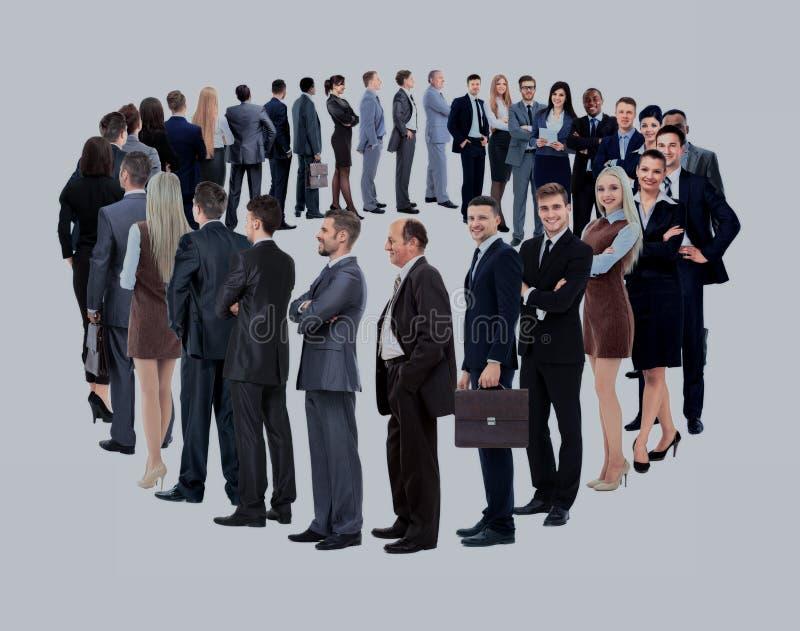 Supporto del gruppo di affari in un cerchio isolato sopra backgroun bianco immagini stock libere da diritti