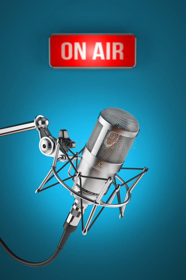 Supporto del microfono dello studio sulla luce del segno del fondo SU ARIA royalty illustrazione gratis