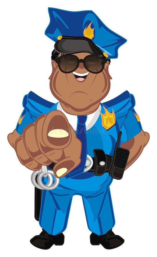 Supporto del poliziotto di afro illustrazione vettoriale