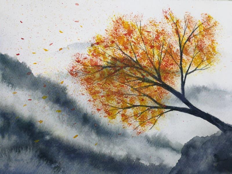 Supporto dell'albero di acero della nebbia della montagna del paesaggio da solo e foglia che cade al vento nella stagione di autu illustrazione vettoriale