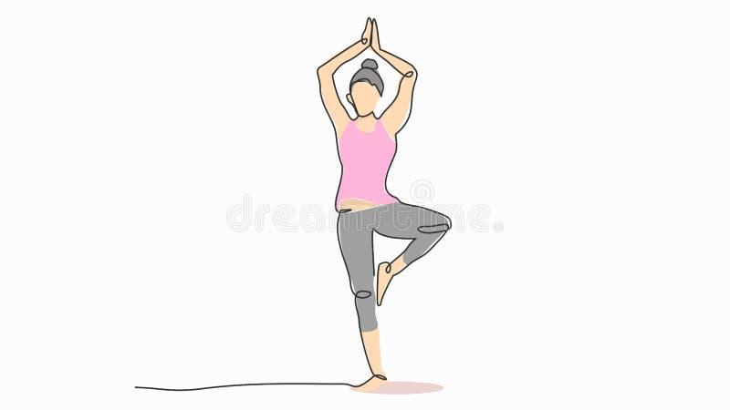 Supporto della donna in un piede che medita linea cattivo disegno di meditazione di yoga la singola con l'illustrazione piana di  royalty illustrazione gratis