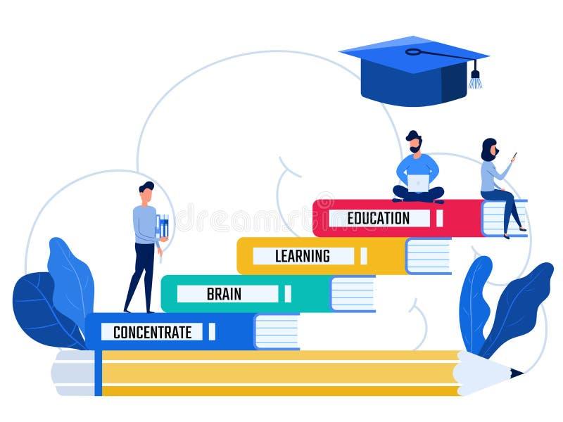 Supporto della gente ai livelli di istruzione di punti della scala dei libri Concetto di conoscenza e di formazione royalty illustrazione gratis