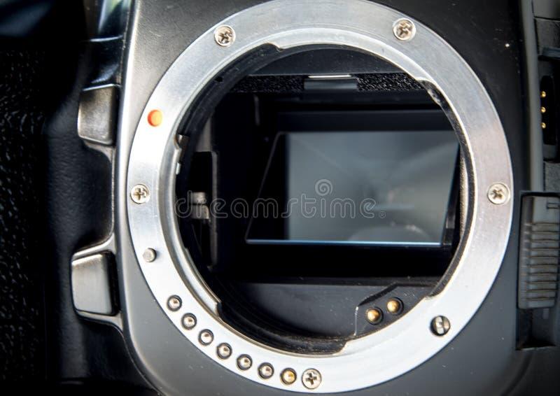 Supporto della lente della baionetta del metallo del corpo della fotocamera di SLR senza lente fotografia stock