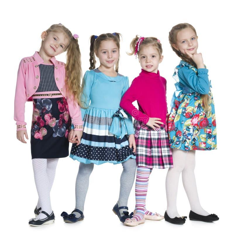 Supporto delle bambine di modo contro il bianco immagine stock libera da diritti